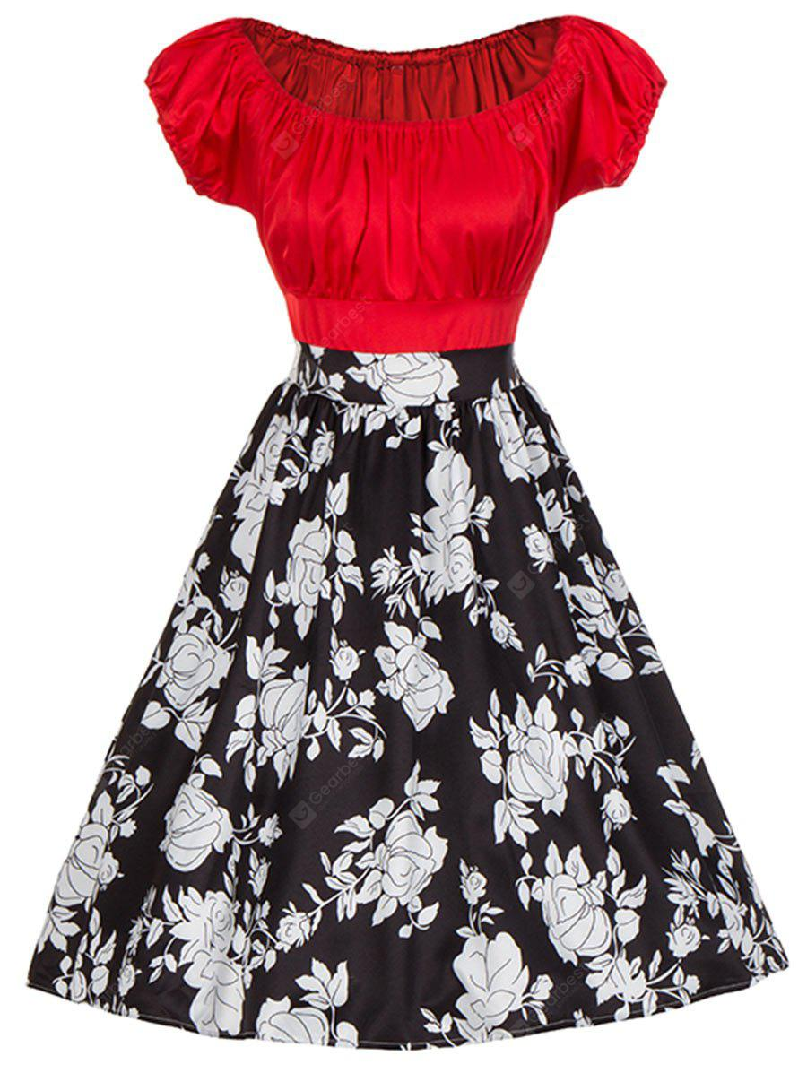 Vintage Floral Print Colorblock Ruched Pinup Dress