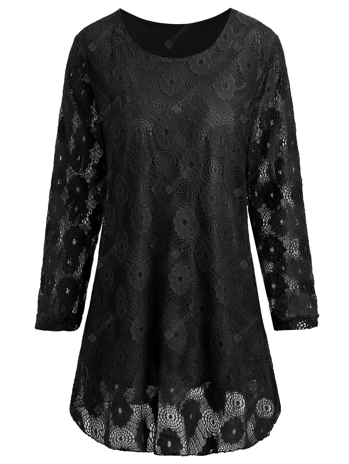 Plus Size Floral Lace Panel Longline Blouse