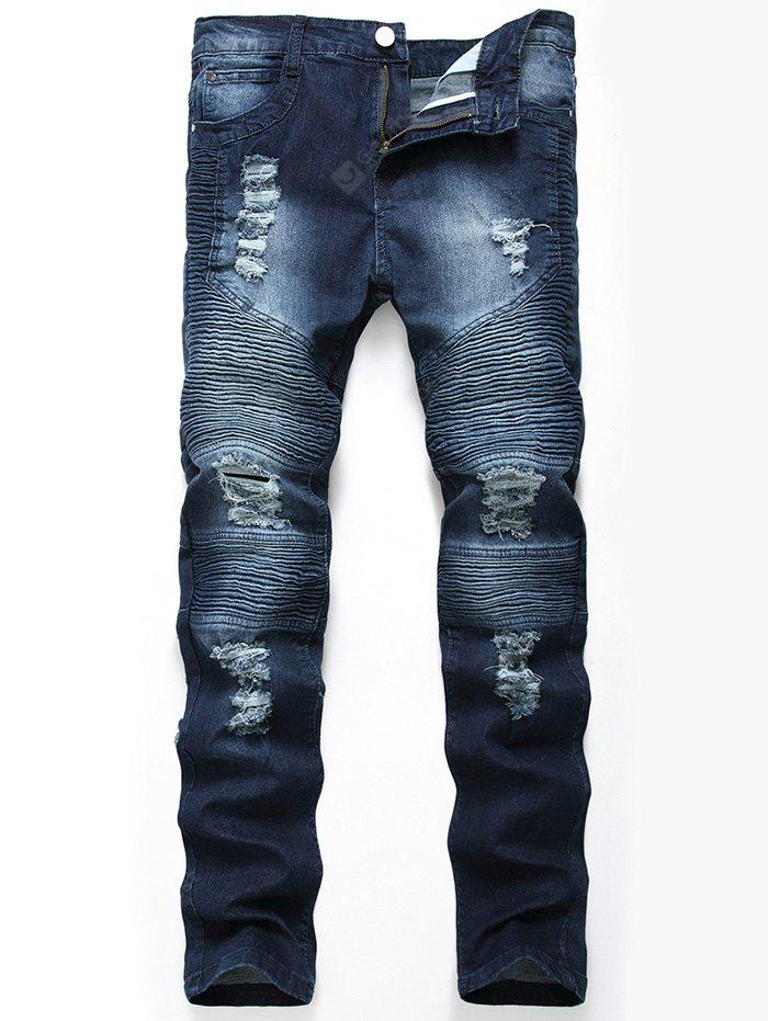 Color Wash Ripped Distressed Moto Jeans