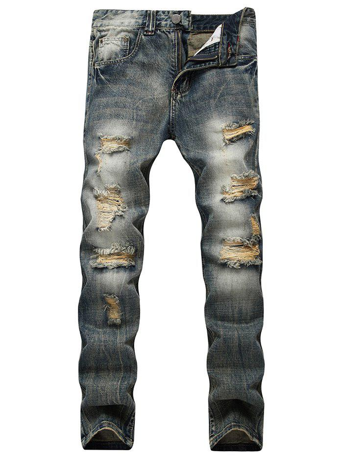 BLUE Faded Wash Slim Fit Distressed Jeans