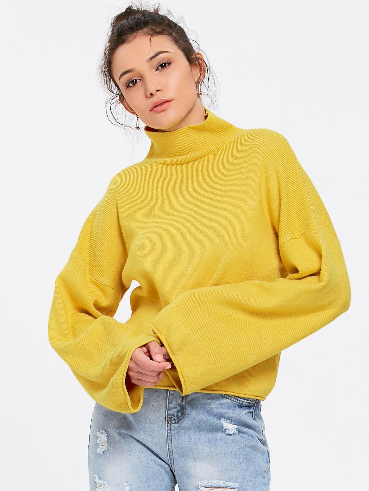 Turtleneck Lantern Sleeve Sweater