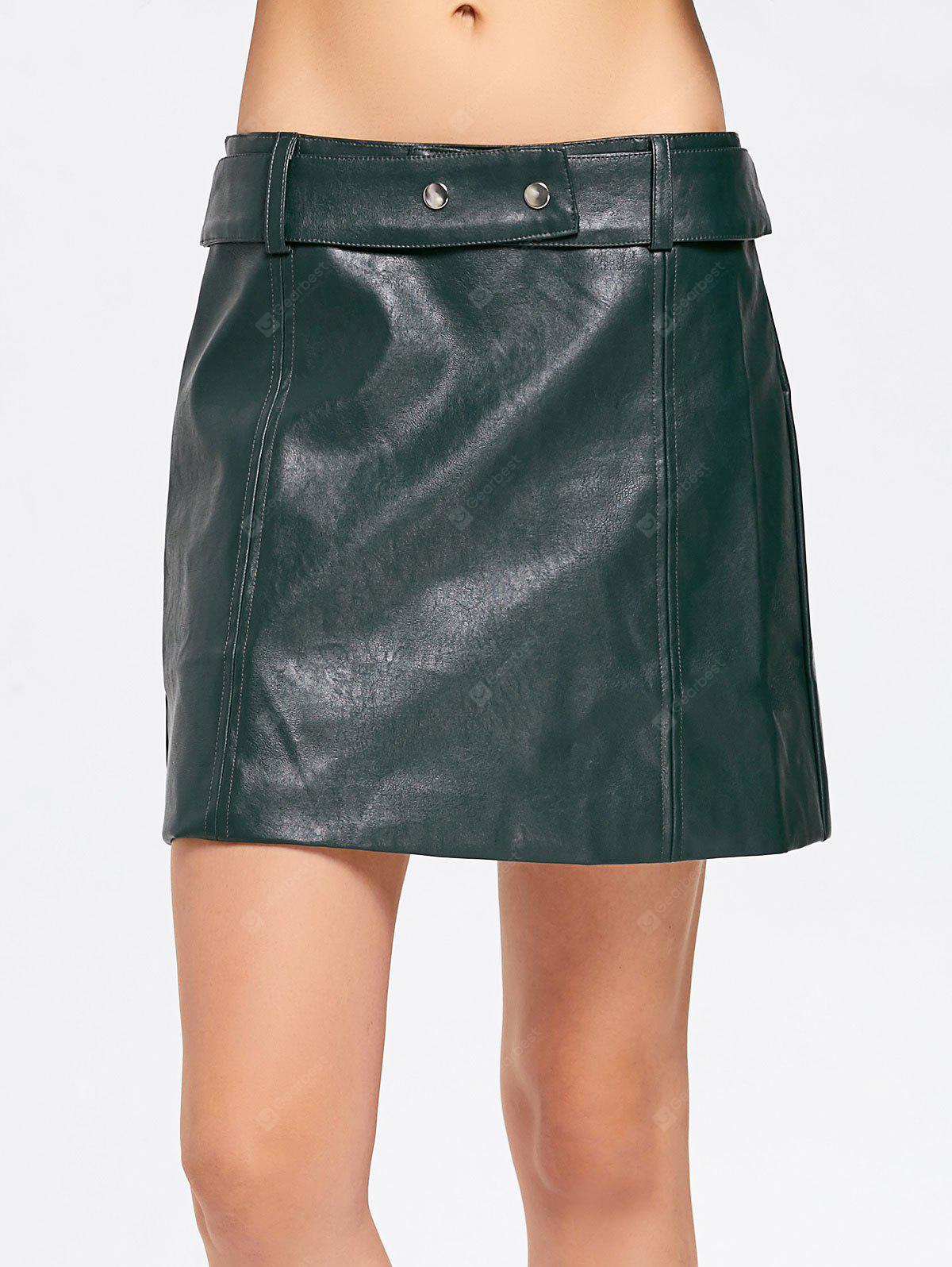 Faux Leather Belted A Line Mini Skirt