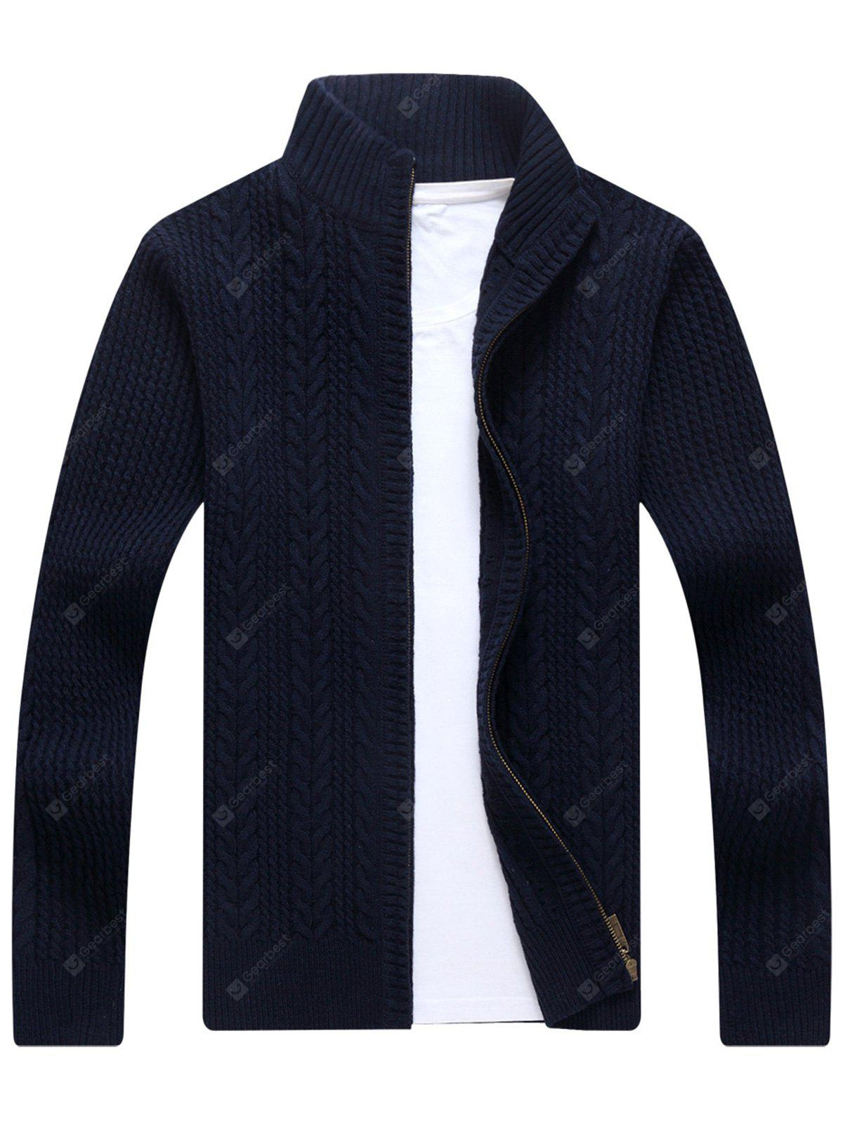 BLUE Zip Stand Collar Cable Knit Cardigan