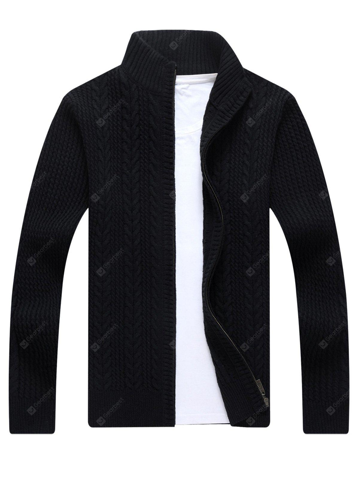 BLACK Zip Stand Collar Cable Knit Cardigan