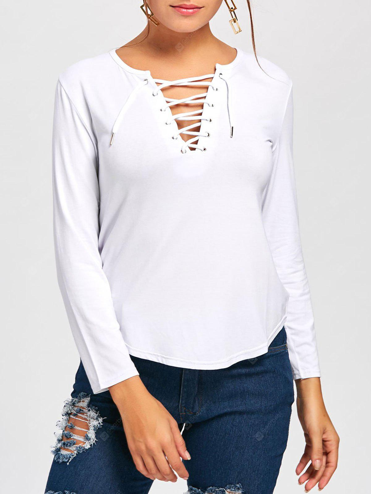 Plunge Lace Up Long Sleeve Tee