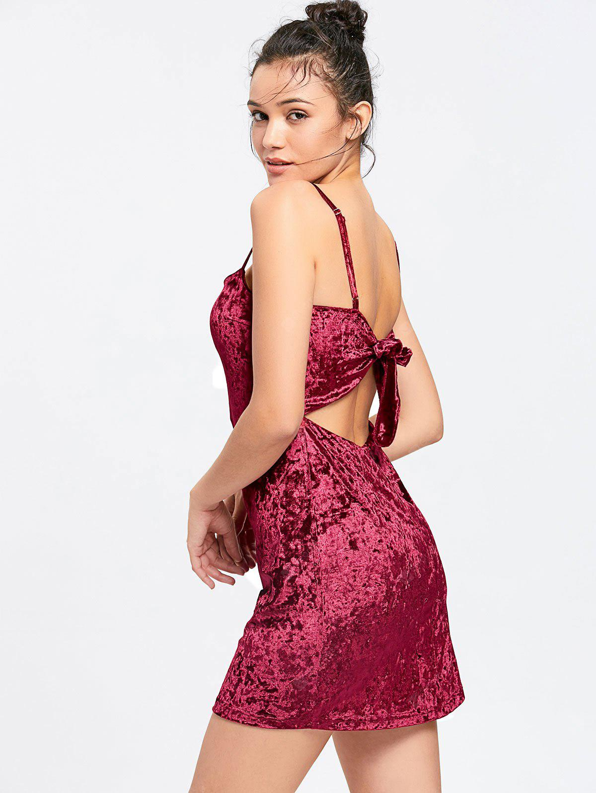 Crushed Velvet Bowknot Cut Out Bodycon Dress