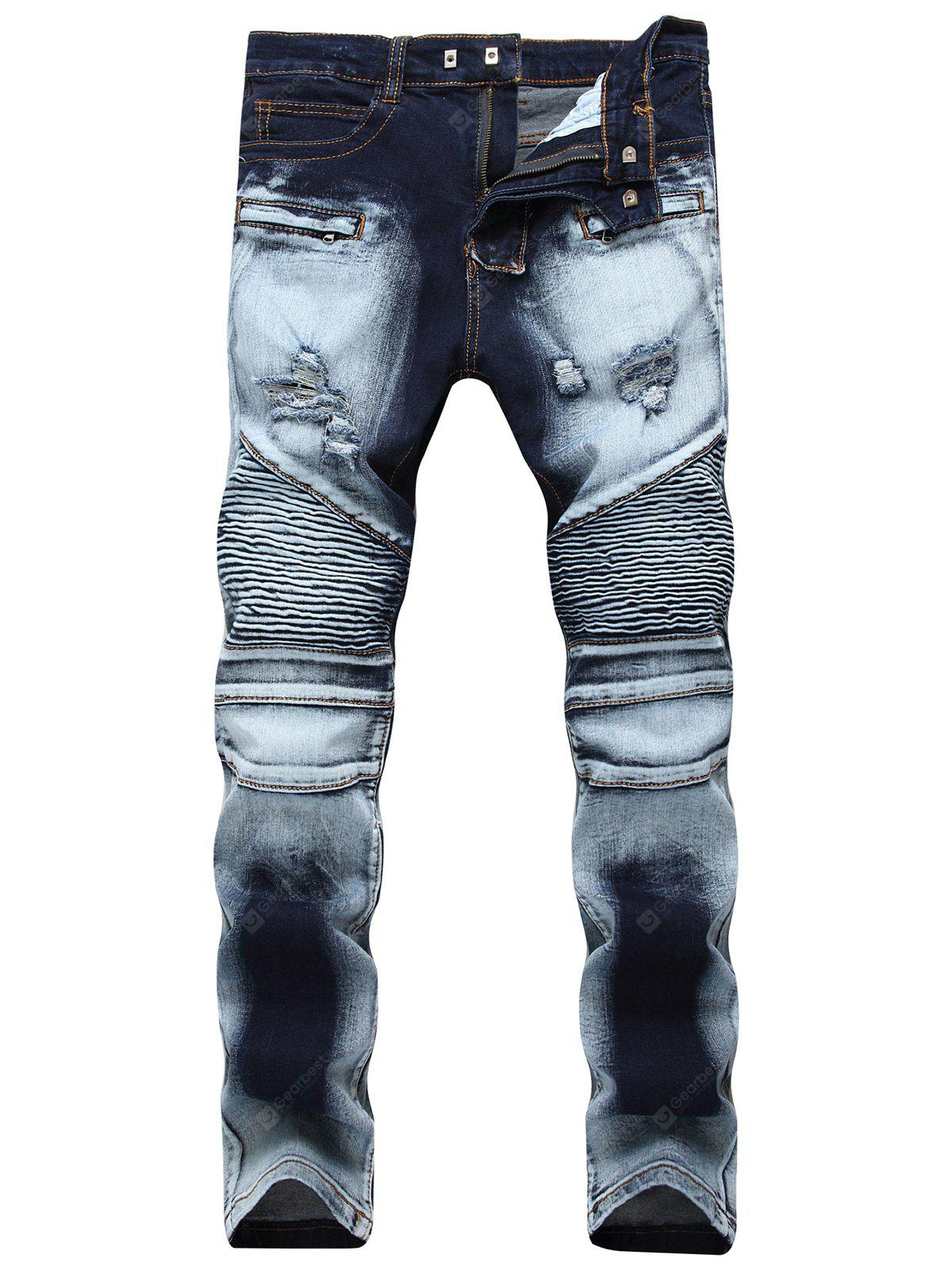 Ripped Acid Wash Moto Jeans