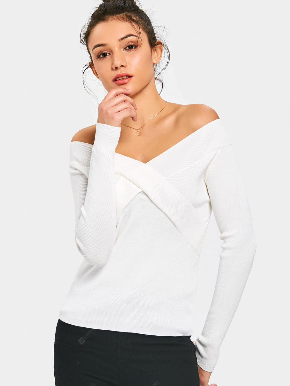 Long Sleeve Off The Shoulder Knitted Top