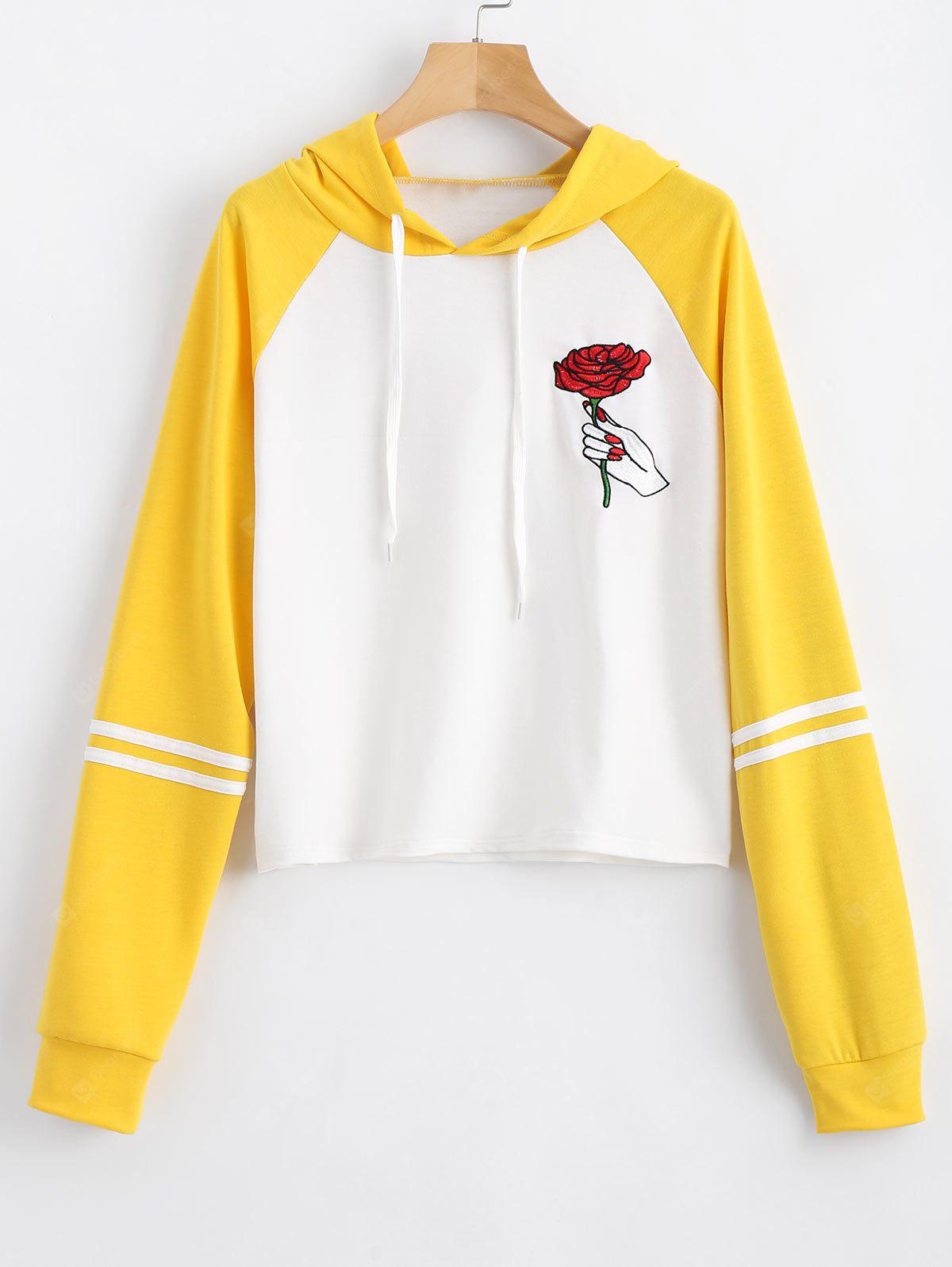 Floral Patched Drawstring Striped Hoodie