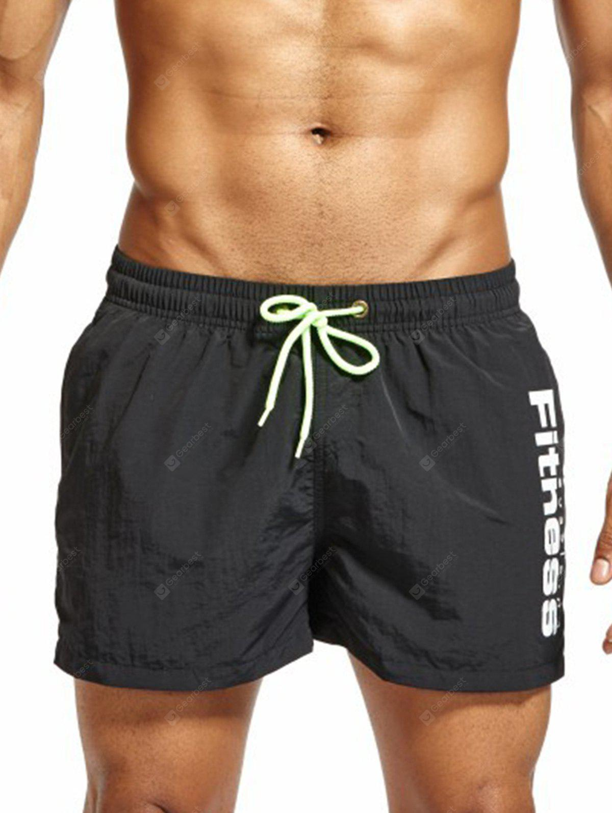 Lace Up Mesh Lining Fitness Shorts