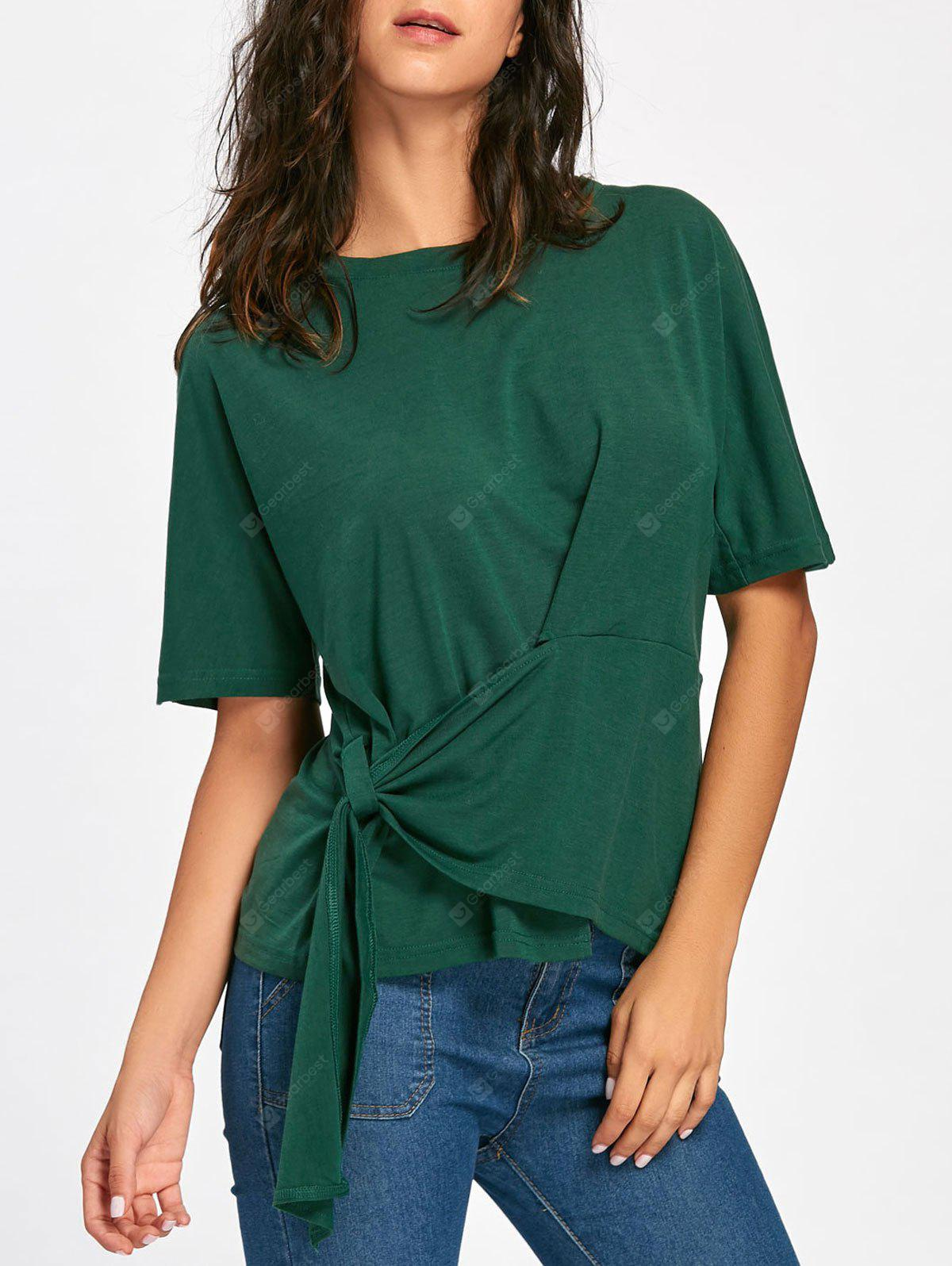 Batwing Sleeve Asymmetrical Front Tie T-shirt