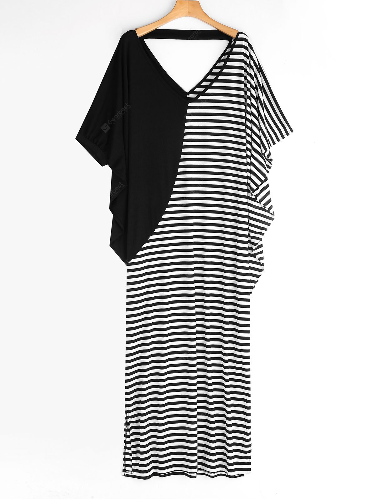 Batwing Stripes Panel Maxi Casual Dress