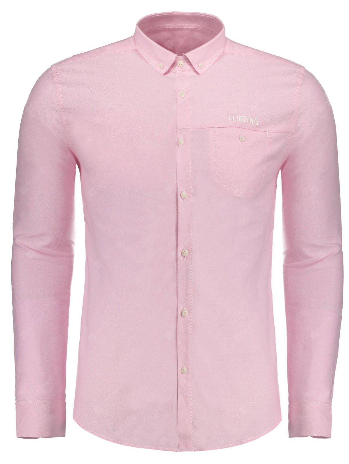 Flirting Graphic Button Down Hombre Camisa