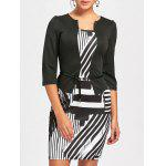 Geometric Printed Bodycon Faux Two-piece Dress - WHITE AND BLACK