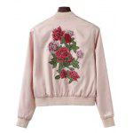 Pockets Floral Patchwork Bomber Jacket - LIGHT PINK