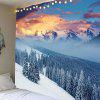 Snow Mountains Forest Pattern Hanging Wall Decor Tapestry - LIGHT BLUE