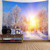 Sunlight Snowy Forest Wall Art Hanging Tapestry - COLORFUL