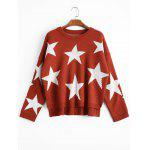 Star High Low Oversized Sweater - BRICK-RED