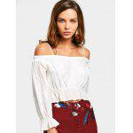 Ruffle Cropped Cold Shoulder Top - WHITE