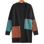 Stripes Panel Open Front Long Cardigan - BLACK