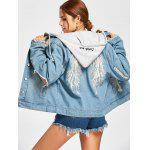 Hooded Wing Embroidery Distressed Denim Jacket - DENIM BLUE