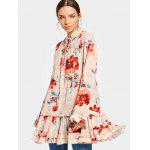 Floral Flounces Layered Blusa larga - ROSA