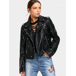 Rivet Embellished Asymmetric Zipper Jacket - BLACK