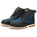 Moc Toe Color Block Ankle Boots - BLUE