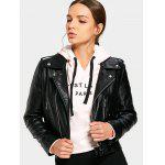 Plain Faux Leather Asymmetrical Zipper Jacket - BLACK