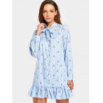 Rabbit Striped Mini Bow Tie Dress - LIGHT BLUE