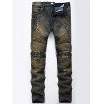 Color Wash Ripped Distressed Moto Jeans - KHAKI GREY