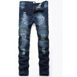 Color Wash Ripped Distressed Moto Jeans - CERULEAN