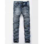 Color Wash Ripped Distressed Moto Jeans - BLUE