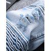 Color Wash Ripped Distressed Moto Jeans - LIGHT BLUE
