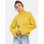 Turtleneck Lantern Sleeve Sweater - YELLOW
