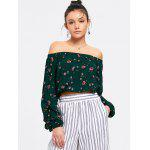 Off Shoulder Floral Cropped Blouse - GREEN