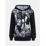 Halloween Hoodie with Dark Forest Skull Print - BLACK