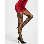 Flower Fishnet See Thru Tights - BLACK