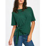 Batwing Sleeve Asymmetrical Front Tie T-shirt - BLACKISH GREEN