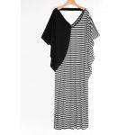 Batwing Stripes Panel Maxi Casual Dress - STRIPE