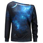 Starry Sky Universe Print One Shoulder Sweatshirt - BLACK AND BLUE