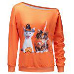 Kitten Pumpkin Halloween One Shoulder Sweatshirt - ORANGE