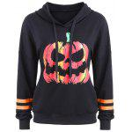 Drawstring Halloween Pumpkin Face Striped Hoodie - BLACK
