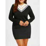 Plus Size Lace Trim Langarm Mini Kleid - SCHWARZ