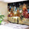 Christmas Snowy Evening Pattern Waterproof Wall Hanging Tapestry - COLORFUL