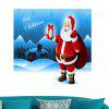 Santa Claus Patterned Waterproof Removable Wall Art Painting - BLUE