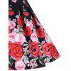 Floral A Line Short Sleeve Vintage Dress - BLACK
