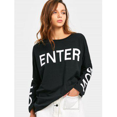 Letter Print High Low Tee