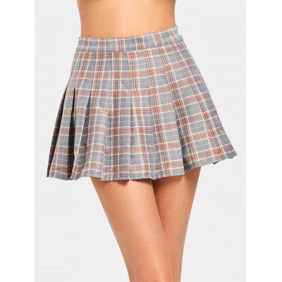 Buy CHECKED XL High Waisted Mini Checked Flare Skirt for $17.57 in GearBest store