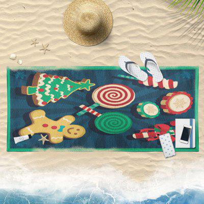 Christmas Candy Biscuit Print Bath Towel
